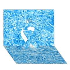 BLUE ICE CRYSTALS Ribbon 3D Greeting Card (7x5)