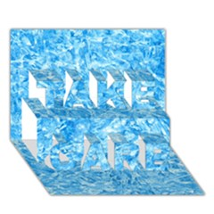 Blue Ice Crystals Take Care 3d Greeting Card (7x5)