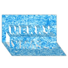 BLUE ICE CRYSTALS Merry Xmas 3D Greeting Card (8x4)