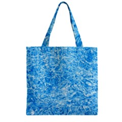 BLUE ICE CRYSTALS Zipper Grocery Tote Bags