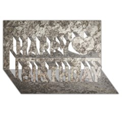 WEATHERED GREY STONE Happy Birthday 3D Greeting Card (8x4)