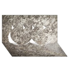 WEATHERED GREY STONE Twin Hearts 3D Greeting Card (8x4)