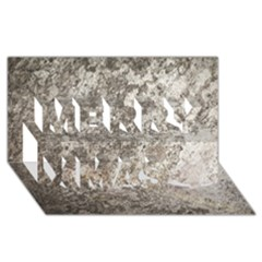 Weathered Grey Stone Merry Xmas 3d Greeting Card (8x4)