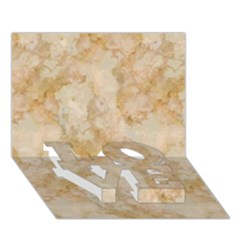 Tan Marble Love Bottom 3d Greeting Card (7x5)