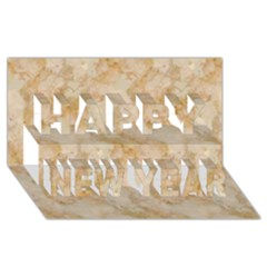 TAN MARBLE Happy New Year 3D Greeting Card (8x4)