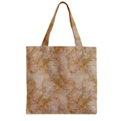 TAN MARBLE Zipper Grocery Tote Bags