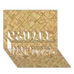 TAN DIAMOND BRICK YOU ARE INVITED 3D Greeting Card (7x5)