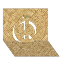 TAN DIAMOND BRICK Peace Sign 3D Greeting Card (7x5)