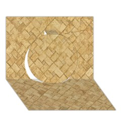 TAN DIAMOND BRICK Circle 3D Greeting Card (7x5)