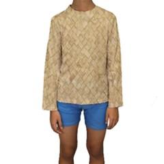 Tan Diamond Brick Kid s Long Sleeve Swimwear