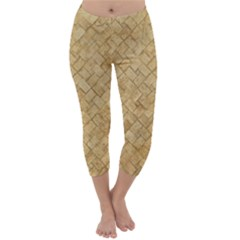TAN DIAMOND BRICK Capri Winter Leggings