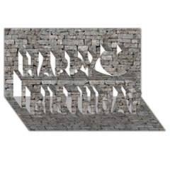 Stone Wall Grey Happy Birthday 3d Greeting Card (8x4)