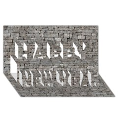 Stone Wall Grey Happy New Year 3d Greeting Card (8x4)