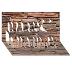 STONE WALL BROWN Happy Birthday 3D Greeting Card (8x4)