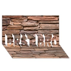 Stone Wall Brown Best Bro 3d Greeting Card (8x4)