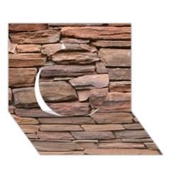 STONE WALL BROWN Circle 3D Greeting Card (7x5)