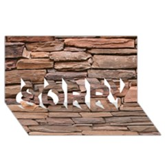 Stone Wall Brown Sorry 3d Greeting Card (8x4)