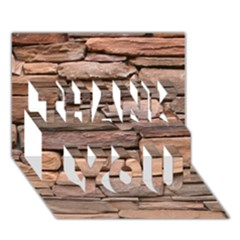STONE WALL BROWN THANK YOU 3D Greeting Card (7x5)
