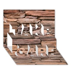 STONE WALL BROWN TAKE CARE 3D Greeting Card (7x5)