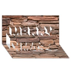 Stone Wall Brown Merry Xmas 3d Greeting Card (8x4)