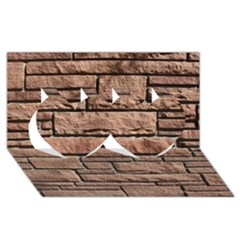 SANDSTONE BRICK Twin Hearts 3D Greeting Card (8x4)
