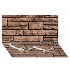 Sandstone Brick Twin Heart Bottom 3d Greeting Card (8x4)
