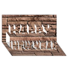 Sandstone Brick Happy New Year 3d Greeting Card (8x4)