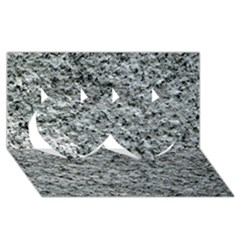 ROUGH GREY STONE Twin Hearts 3D Greeting Card (8x4)