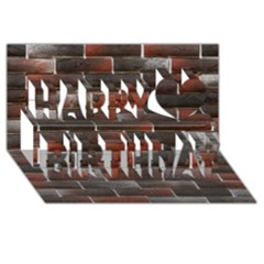 RED AND BLACK BRICK WALL Happy Birthday 3D Greeting Card (8x4)