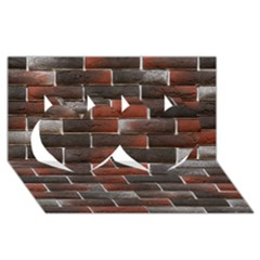RED AND BLACK BRICK WALL Twin Hearts 3D Greeting Card (8x4)