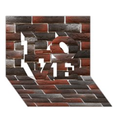 RED AND BLACK BRICK WALL LOVE 3D Greeting Card (7x5)