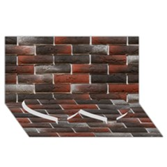 RED AND BLACK BRICK WALL Twin Heart Bottom 3D Greeting Card (8x4)