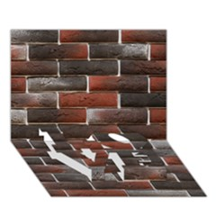Red And Black Brick Wall Love Bottom 3d Greeting Card (7x5)