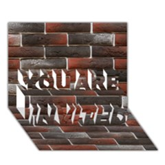 Red And Black Brick Wall You Are Invited 3d Greeting Card (7x5)