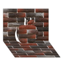 Red And Black Brick Wall Apple 3d Greeting Card (7x5)