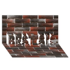 RED AND BLACK BRICK WALL BEST SIS 3D Greeting Card (8x4)