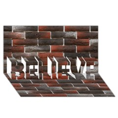 RED AND BLACK BRICK WALL BELIEVE 3D Greeting Card (8x4)