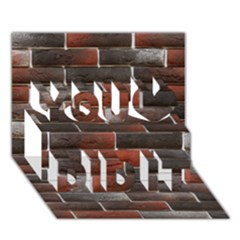 RED AND BLACK BRICK WALL You Did It 3D Greeting Card (7x5)