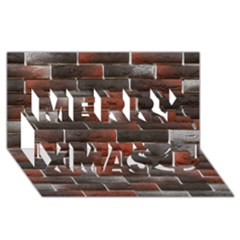 RED AND BLACK BRICK WALL Merry Xmas 3D Greeting Card (8x4)