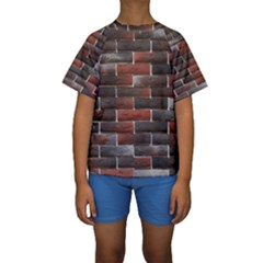 RED AND BLACK BRICK WALL Kid s Short Sleeve Swimwear
