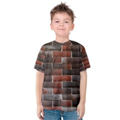 Red And Black Brick Wall Kid s Cotton Tee