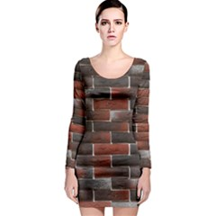 RED AND BLACK BRICK WALL Long Sleeve Bodycon Dresses