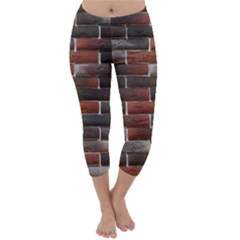 RED AND BLACK BRICK WALL Capri Winter Leggings