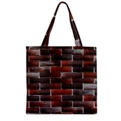 RED AND BLACK BRICK WALL Zipper Grocery Tote Bags