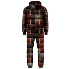Red And Black Brick Wall Hooded Jumpsuit (men)