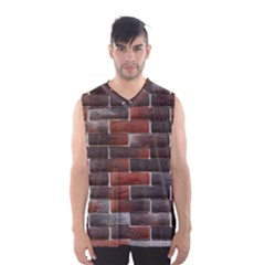 Red And Black Brick Wall Men s Basketball Tank Top