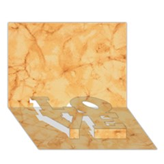 MARBLE LIGHT TAN LOVE Bottom 3D Greeting Card (7x5)