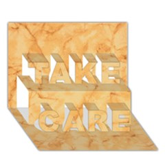 Marble Light Tan Take Care 3d Greeting Card (7x5)