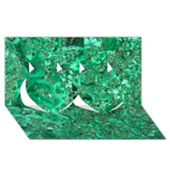 MARBLE GREEN Twin Hearts 3D Greeting Card (8x4)