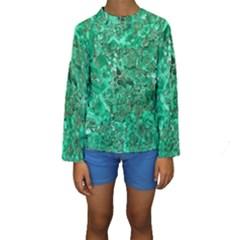Marble Green Kid s Long Sleeve Swimwear